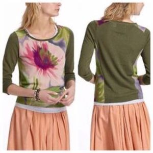 Anthropologie Guinevere Thora Green Floral Sweater